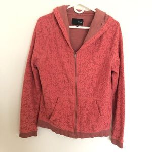 Hurley Coral Lace Zipper Hoodie Sweater Jacket